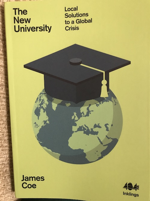 The cover of The New University, featuring a globe wearing a mortarboard